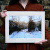 A Winter Morning A4 Print, snowy country lane © Bryony Whistlecraft | MooredgeintheMist.com