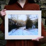 A Winter Morning A4 Print, snowy country lane © Bryony Whistlecraft | MooredgeintheMist.com