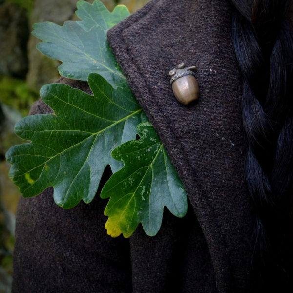 Enchanted Acorn Pin, on coat lapel © Bryony Whistlecraft   MooredgeintheMist.com