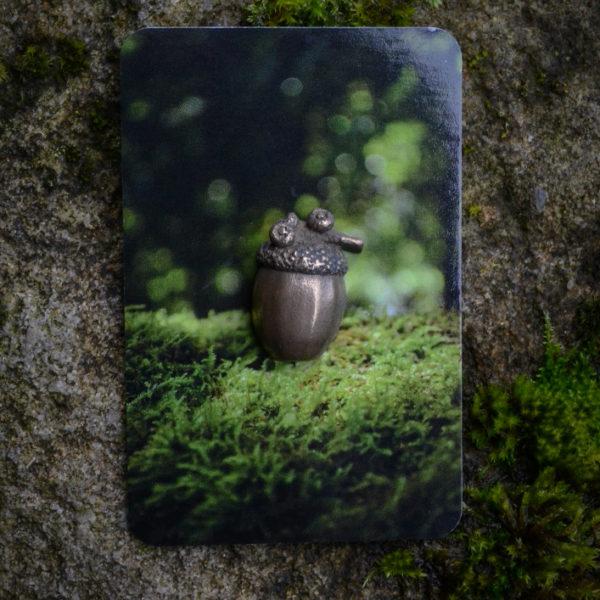Enchanted Acorn Pin, on backing card © Bryony Whistlecraft   MooredgeintheMist.com